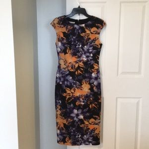 Maggy London Floral Sheath Midi Dress